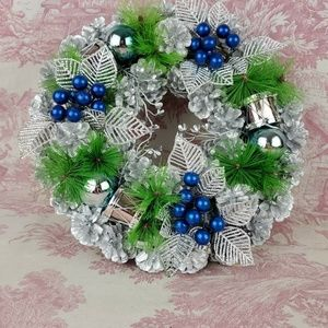 Wreath Silver and Blue Pinecones Drums Ball Berrie